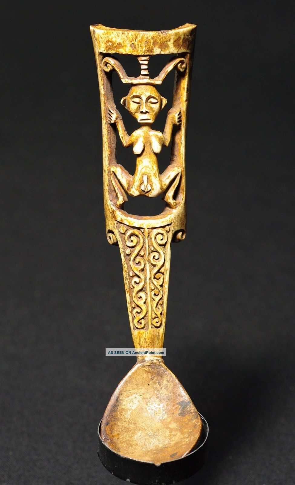 Bone Spoon With Hermaphroditic Figure Pacific Islands & Oceania photo
