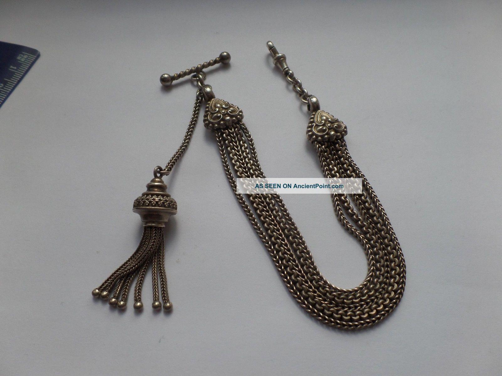 Antique Silver Albertine / Albertina Pocket / Fob Watch Chain & Tassel Pocket Watches/Chains/Fobs photo