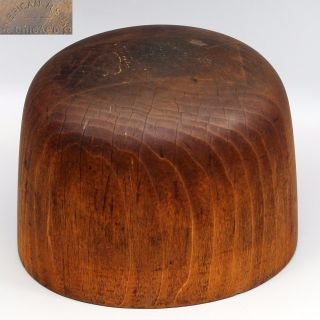 Antique Wood Hat Block Form Mold Marked 6,  7 1/8 & 52 American H.  S.  Inc Chicago photo