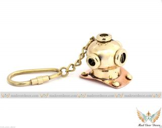 Vintage Brass Divers Helmet Keychain Maritime Nautical Keyring Diving Helmet photo