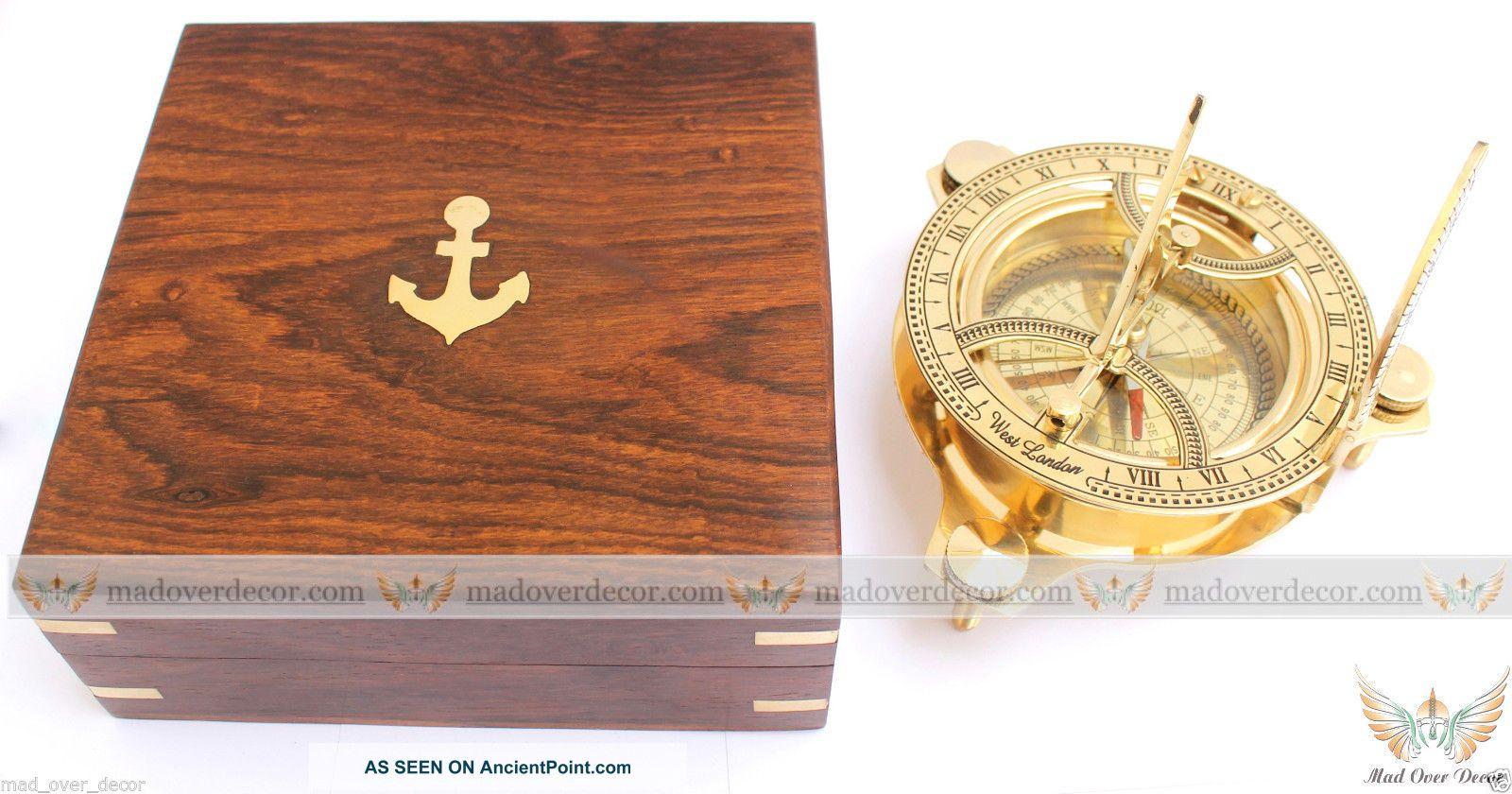 Antique Vintage Maritime Brass Circular Sundial Compass 4