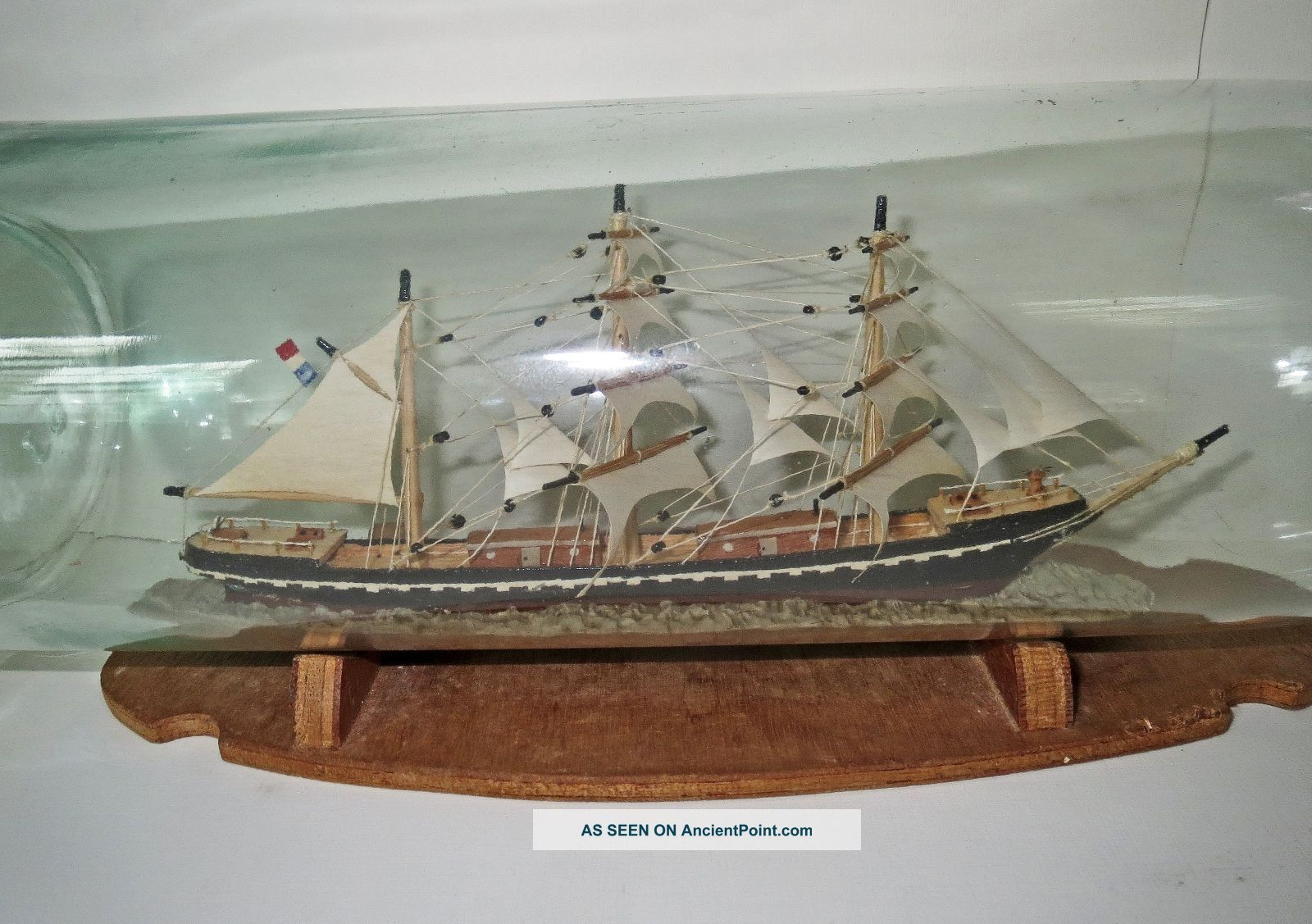 Antique Ship In A Glass Bottle - Master Crafted Museum Quality Folk Art Model Ships photo