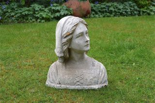 Art Nouveau Bust Of A Young Maiden In Tradional French Dress Weathered photo