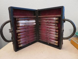 Antique Doctor ' S Medical Apothecary Wooden Case With 20 Drug Vials Early 1900 ' S photo