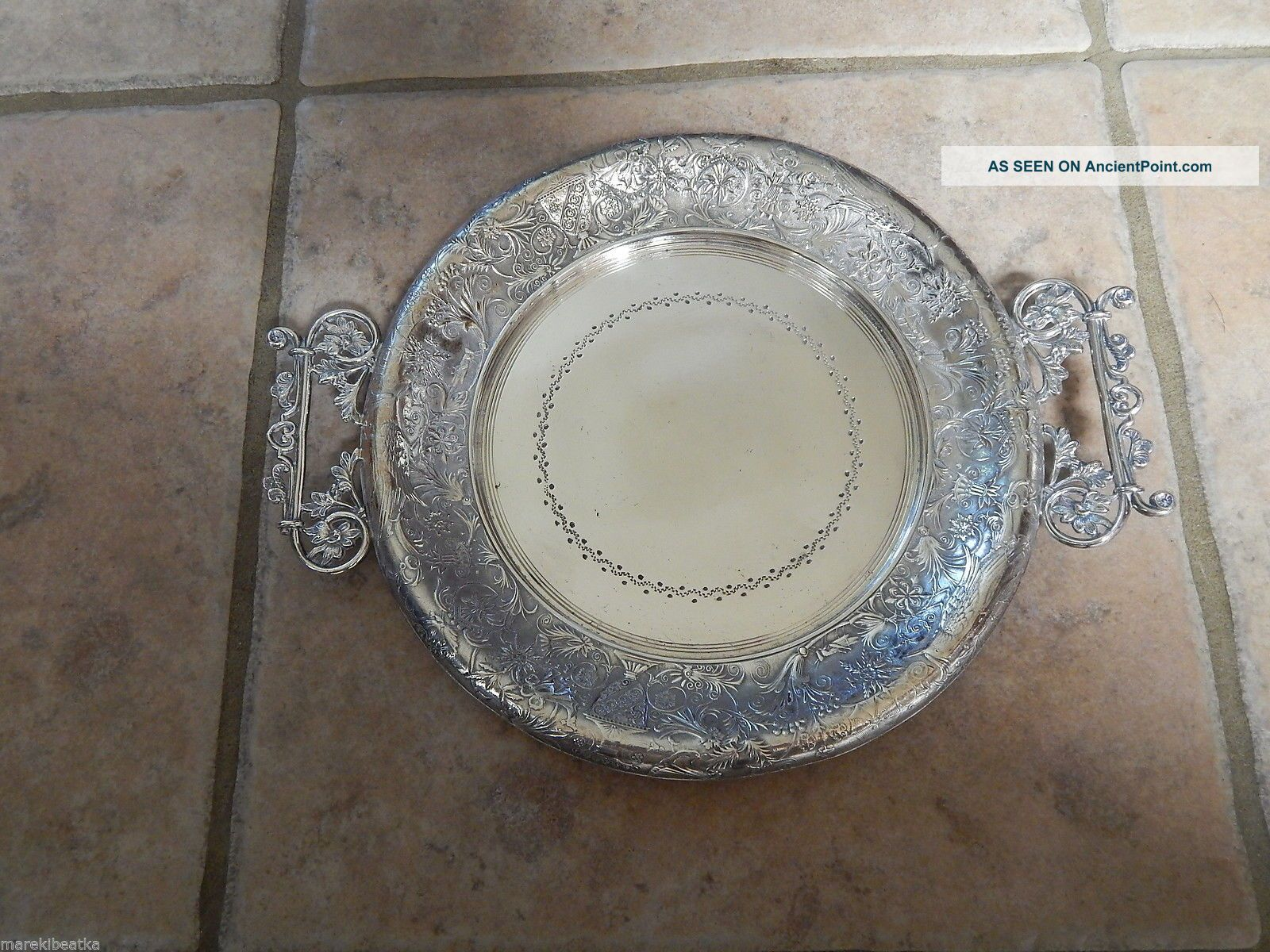 Antique Rockford Quadruple Silver Plate Ornate Tray With Handle Platters & Trays photo