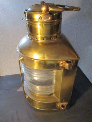Antique Russell & Stoll Brass Nautical Ship ' S Oil Lamp.  Fresnel Lens On Lantern. photo