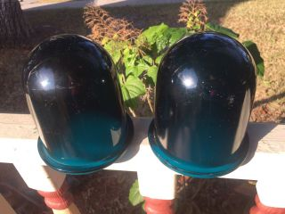 Pair Ship Light Cover Cobalt Blue Glass Dome Lens H - 2034l P.  G.  Co photo