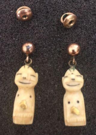 Vintage Hand Carved Alaska Inuit Billiken Charm & Gold Earrings W/ Threaded Post photo