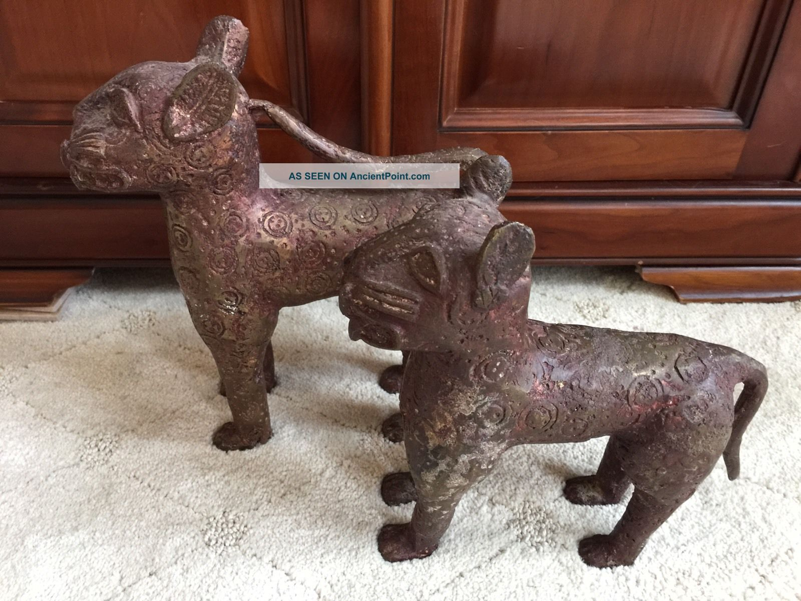 Antique Benin Nigeria Small Leopards Bronze Male Female Sculptures & Statues photo