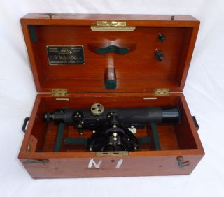 Vintage E.  R Watts & Son London Theodolite,  Case Antique photo