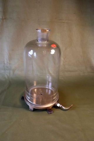 Simple Vacuum Pump Plate & Bell Jar,  Vintage {physics} photo