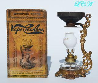 Miniature Antique Vapo Cresolene Lamp Quack Medicine Cure - All Complete photo