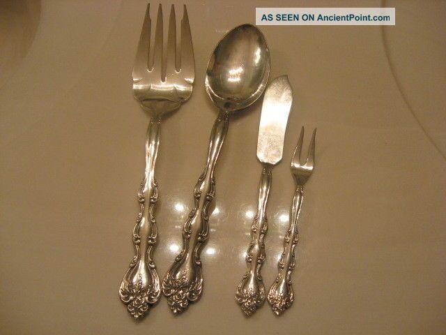 International Silverplate Interlude Serve Spoon,  Butter,  Olive & Serve Fork 4p Flatware & Silverware photo