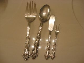 International Silverplate Interlude Serve Spoon,  Butter,  Olive & Serve Fork 4p photo