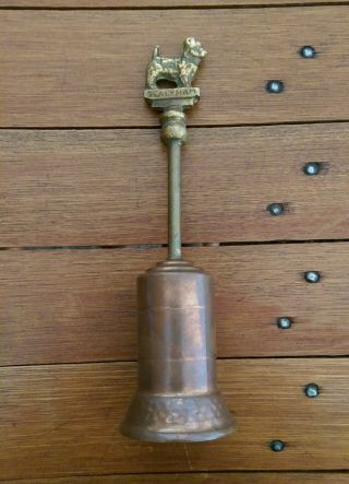 Vintage Sealyham Dog Fireplace Tool Push Up Fur Brush Brass Bronze Copper photo