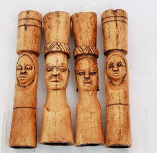 Antique Vintage Tribal Carved Bovine Bone Fly Swat Handles - Ethnographic photo
