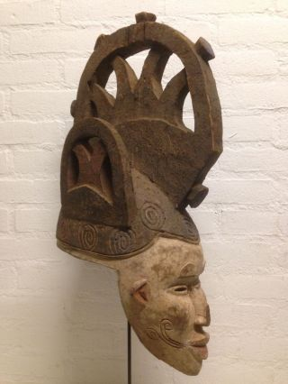 Nigeria : Old And Rare Tribal African Igbo Mask - 59 Cm. photo