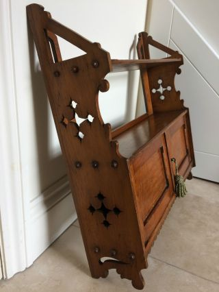 Antique Gothic Influence Arts And Crafts Wall Cupboard/shelf 63 Cm Wide photo