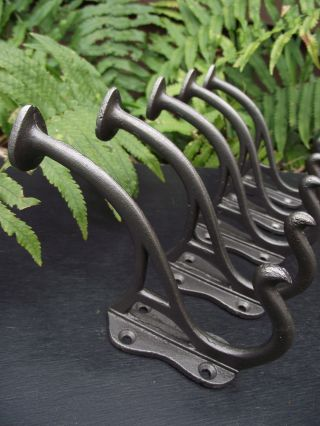 5 Ex Display Art Nouveau Style Cast Iron Coat Hooks Pegs Rack Hall Stand Door. photo