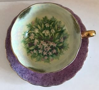 Vtg Teacup & Saucer Purple Speckled Gold Trim White Pink Flower Japan photo