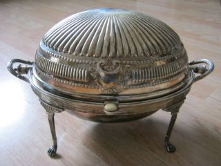 Antique Silver Plate Dome Role Top Victorian Chafing Old 14x8x8 Inche Art Deco photo