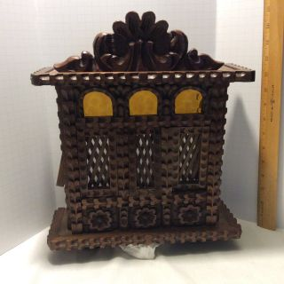 Vintage Tramp Folk Art Cabinet Wood Wall Box Hand Carved What Is It photo