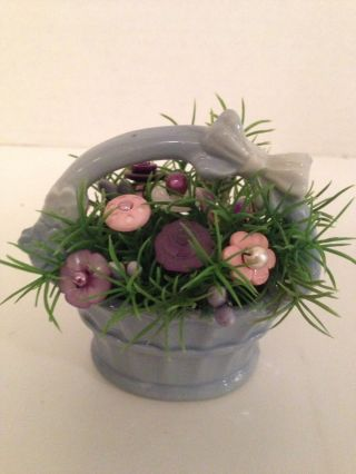 Easter Vtg Button Bokay/lavender Basket - Country Decor - Ornie - Shabby Cottage Chic photo