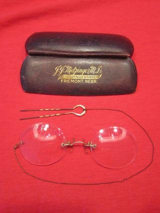 Spectacles Pince - Nez Vintage Eyeglasses Gold Nose Clip,  Hair Pin Chain & Case photo