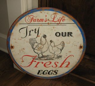 Big Rooster/chicken Eggs Farmhouse Sign Primitive/french Country Kitchen Decor photo