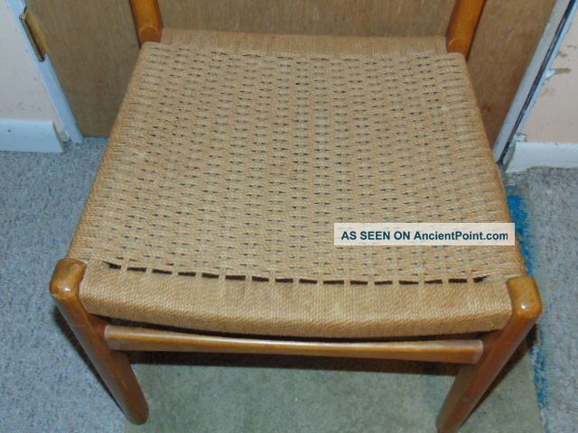 Mid Century Danish Modern Wegner Juhl Style Teak ? Side Chair W/ Rope Sweden Post-1950 photo