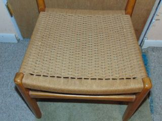 Mid Century Danish Modern Wegner Juhl Style Teak ? Side Chair W/ Rope Sweden photo