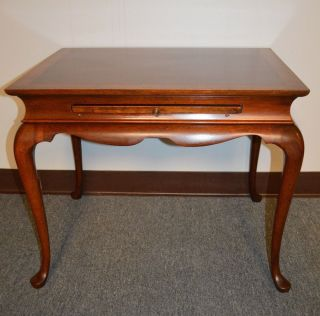 Queen - Anne Style Solid Mahogany Side Table W/ Banded Inlaid Top & Pull - Out photo