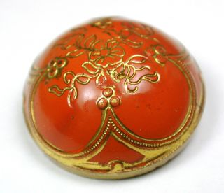 Antique Victorian Glass Button Red W/ Gold Luster Flowers Design - 7/8