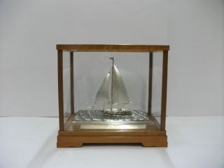 The Sailboat Of Silver Of The Most Wonderful Japan.  A Japanese Antique. photo
