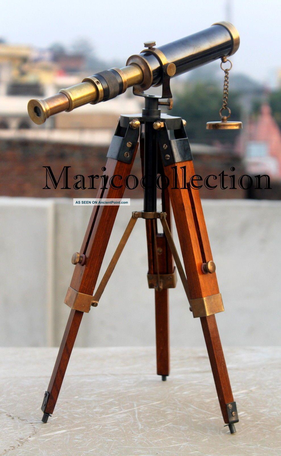 Antique Brass Telescope W/tripod Marine Pirate Spyglass Nautical Telescope Decor Telescopes photo