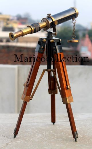 Antique Brass Telescope W/tripod Marine Pirate Spyglass Nautical Telescope Decor photo