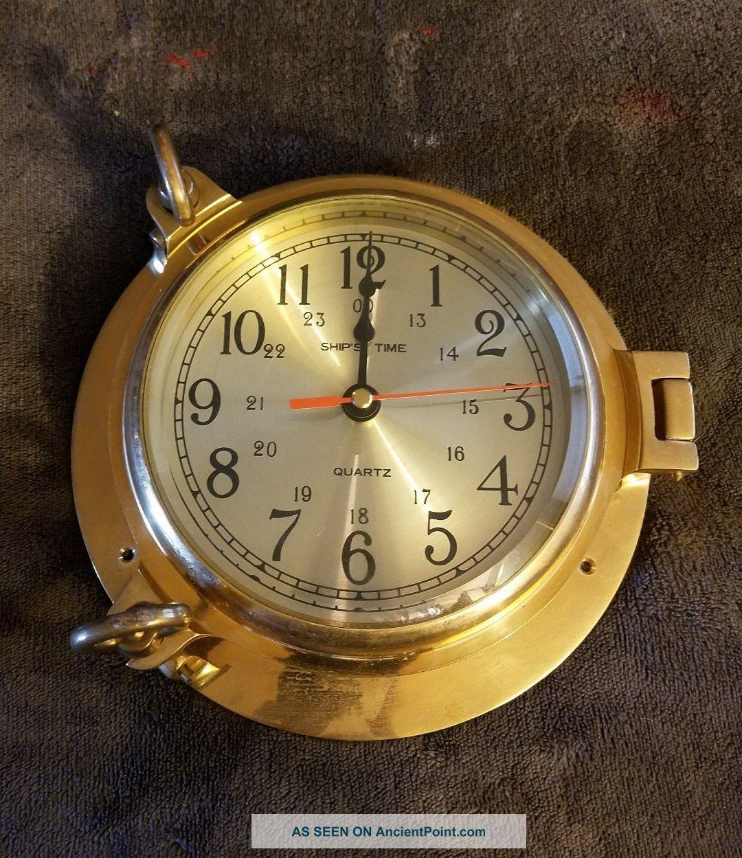 Solid Brass Nautical Quartz Port Hole Wall Clock By Rhythm Large 9 Inches 3 Clocks photo