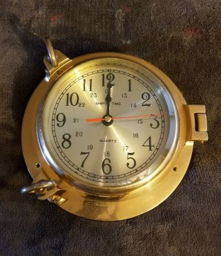 Solid Brass Nautical Quartz Port Hole Wall Clock By Rhythm Large 9 Inches 3 photo