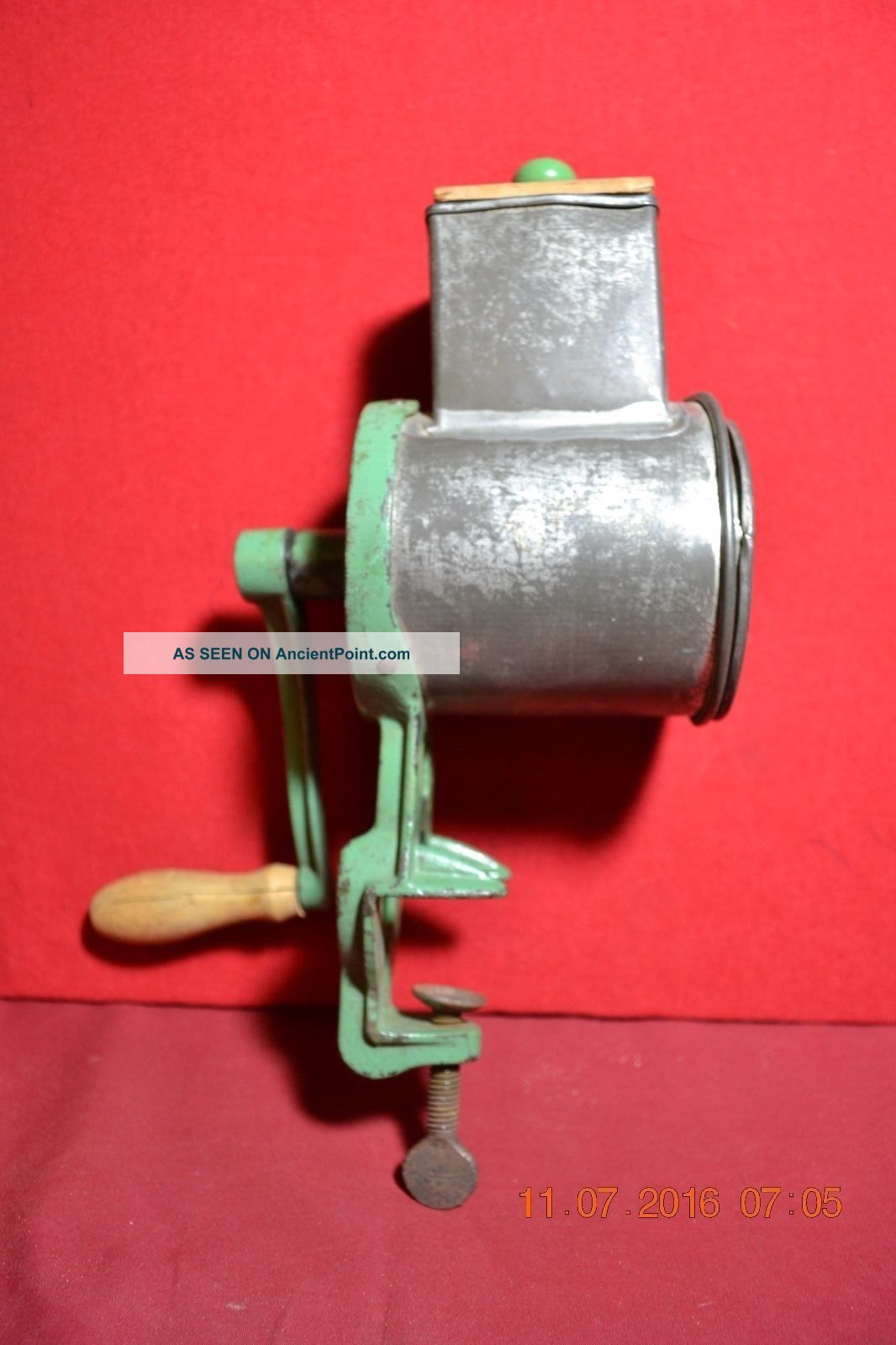 Antique Hand Crank Climax Green Cheese/spice/bread Grater Meat Grinders photo