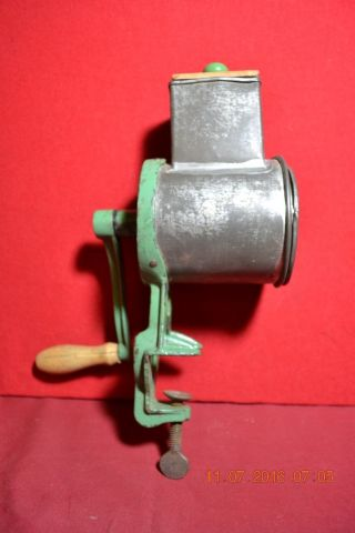 Antique Hand Crank Climax Green Cheese/spice/bread Grater photo