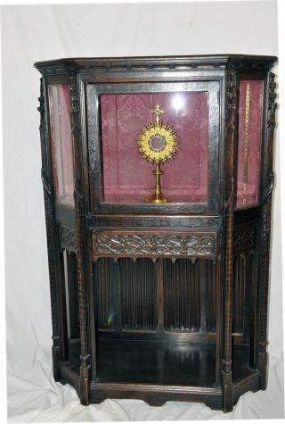 French Gothic Display Cabinet,  Glass Doors,  Oak,  1890s,  Antique,  Religious photo