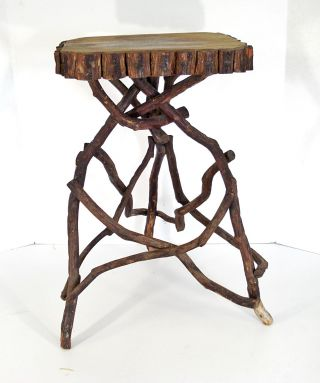Antique Southern Tramp/folk Art Laurel Twig Table Adirondack Bent Wood Stand photo