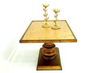 Vintage Wood Side End Table Stand Hollywood Regency photo