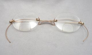 Antique 10k Gold Victorian Rimless Bifocal Eyeglasses Spectacles Riding Temple photo