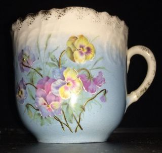 Mustache Cup Blue And White Porcelain With Florals And Gold Trim/details photo