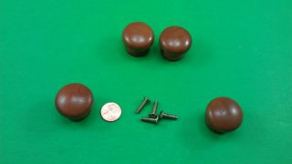 4 Antique Vintage Wood Brown Dresser Drawer Handles photo