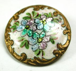 Antique Enamel Button Three Flowers On Foil W/ Fancy Brass Border 13/16