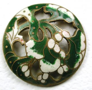 Antique French Enamel Button Pierced Green & Cream Flower Design 1 & 1/16