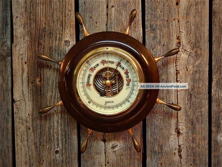 Vintage Nautical Barometer Enamel Face Jason Made In Germany Weather Detector Other Maritime Antiques photo