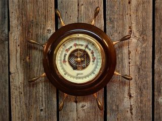 Vintage Nautical Barometer Enamel Face Jason Made In Germany Weather Detector photo